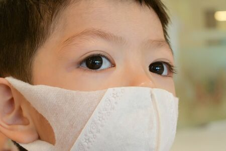 cute kid wear hygienic face mask protection care yourself from disease spread infection and air pollution
