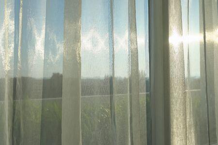 sun light morning through white curtain on window Stockfoto