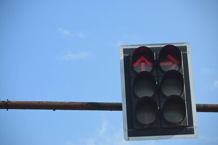 red traffic light arrow signal stop forward and turn right Stock Photo