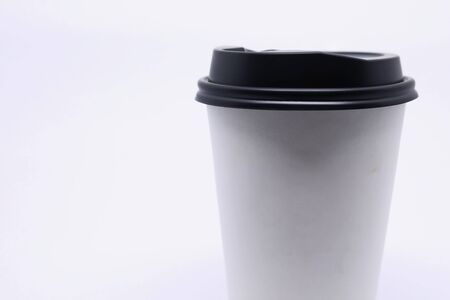take away cup for hot coffee drink, empty blank copy space for your design text or banner of brand on mug, single object on white background