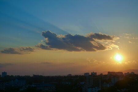 beautiful sunset sky above the city