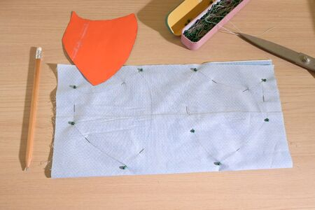 layout of face protective mask handmade from fabric