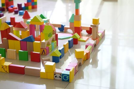 wooden toy block building town for activity of kid play learning development in home