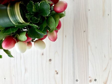 Fruit decoration on wooden floor with space for writing Stock Photo
