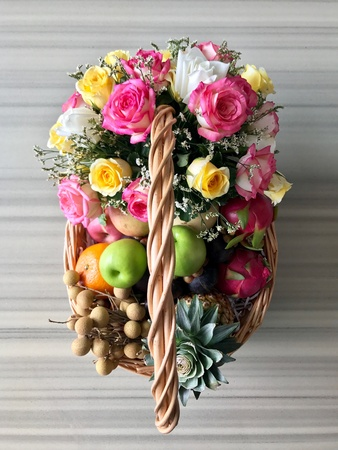 Fruit and flower decoration on marble table