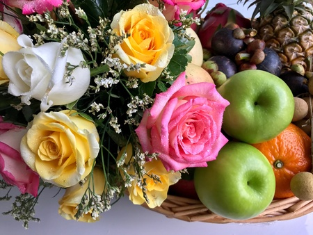 Fresh fruit with flower decoration