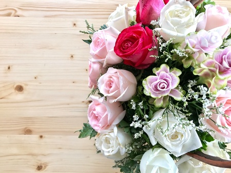 Colorful rose bouquet with space for writing