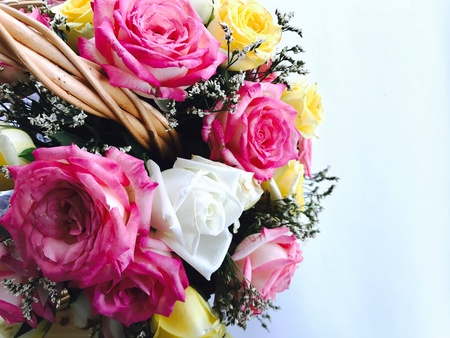 Roses bouquet with space for writing Stock Photo