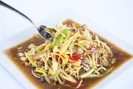 tam: Papaya salad (Som Tam) Thai cuisine spicy delicious