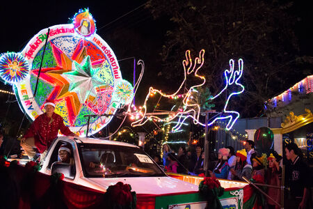 Stars Christmas Parade of Tha Rae. Sakon Nakhon, Thailand