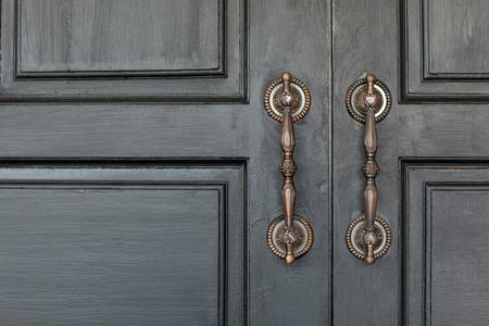 Vintage style door handles beautifully.