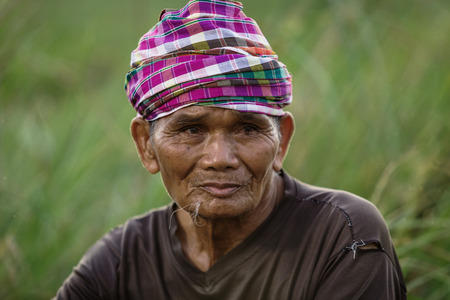 octogenarian: Portrait of mood of waiting for the old man of Asia.