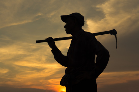disheartened: Emotion,Farmer and sunset  on confield.