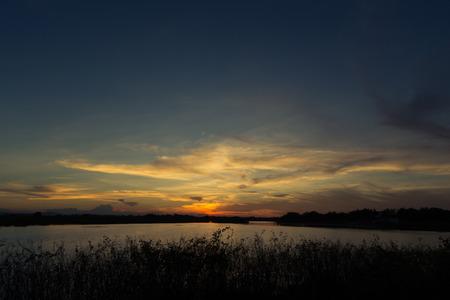 nakhon: Sunset on the Nong han Lake sakon nakhon,Thailand Stock Photo