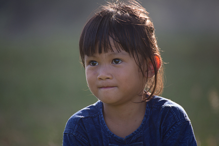 Thailand portrait of a pretty 5 year old Natural light. 写真素材