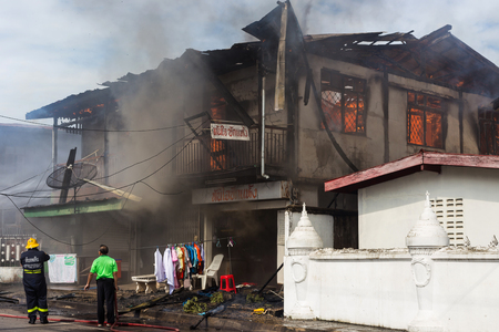 total loss: Sakon Nakhon, Thailand on September 13, 2015 at 15:00 oclock. conflagration damaged nearly the entire house. Fire officials estimated the cause of the short circuit.