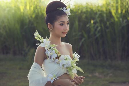 beauty girls: Asian, Portrait women beautiful in white dress.