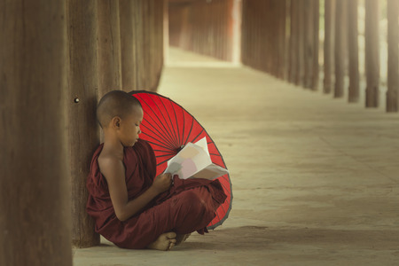 monk: Asian, Lifestyle buddhist monk of Myanmar reading book on temple.