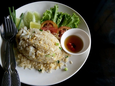 fried rice: Fried rice with squid