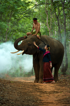 mahout: The elephant and mahout with woman in traditional dress Stock Photo