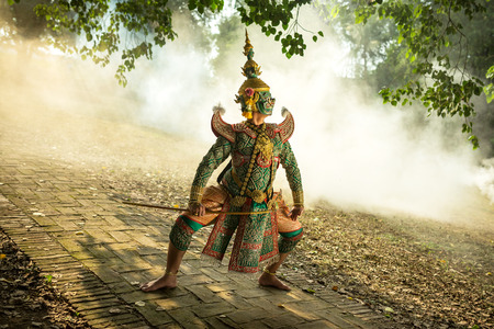 Thailand Khon Masked performing art  Ramayana story art culture of asia. Stock Photo