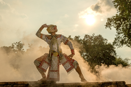 rural india: Thailand Hanuman character in ramayana story art culture performing art of asia.