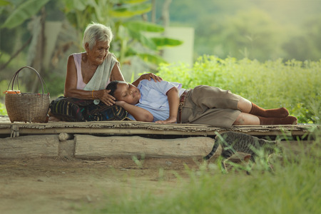 nautral: Grandmother and grandson family of thailand in the east  Stock Photo
