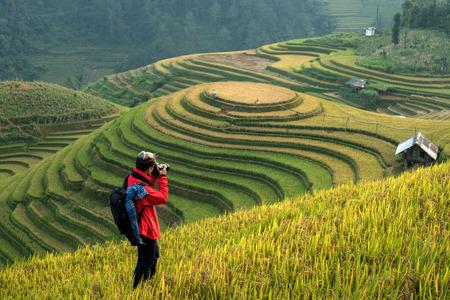 Photographers taking pictures scenery rice terraces in Vietnam. 写真素材