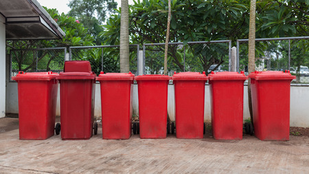 Red bins used to separate the hazardous waste.