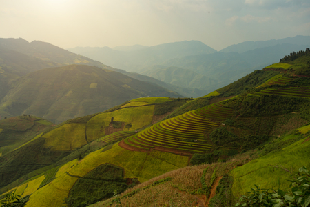Vietnam Mu Cang Chai  Bai Rice terrace curved landscape on the mountain   Stock Photo