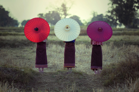 Colorful umbrellas Chiang Mai Thailand Back side portrait this the Asian Culture. 写真素材