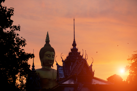 Wat Muang Ang Thong Thailand Silhouette buddha statue and temple landmark of Asia.