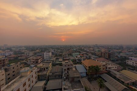 Mandalay city in during sunrise cityscape aerial view of Myanmar.