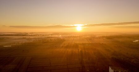 Aerial view beautiful sunrise landscape