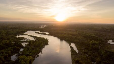 Beautiful aerial view sunset and the curve  river