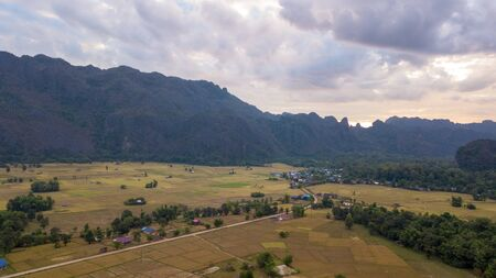 Aerial view of the Kong Lo Village Laos.