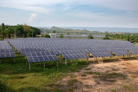 solar cells panel farm alternative energy electricity production supply