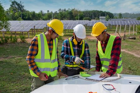 The technical team is planning the operation at the Solar Panel Farm.