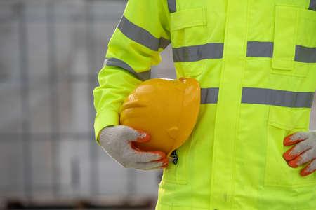 Helmet uniform worker in the construction