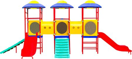 Colorful playground for children. Isolated on white  photo