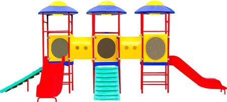 jardin de infantes: Patio colorido de los niños. Aislados en blanco