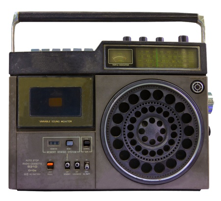 stereo cut: Vintage radio cassette recorder, isolated on white