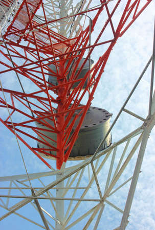 struts: Communications tower with a beautiful blue sky,Confusion