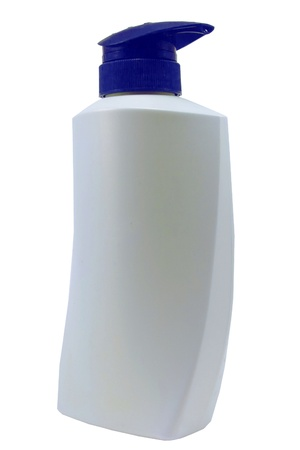 Plastic Clean White Bottle With blue  Dispenser Pump On White Background  photo