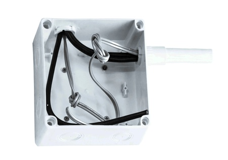 ir: white   plastic electrical junction box isolated on white
