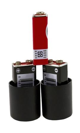 9v battery: Three nine volt batteries isolated on white background Stock Photo