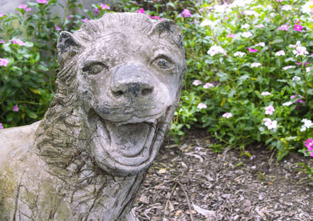 lion statue in park  photo