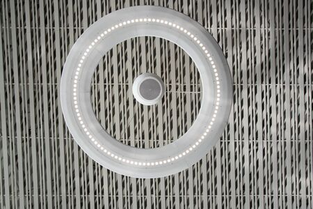 light inside is on ceiling with classic office squares in Modern Design Studio Standard-Bild - 128807407