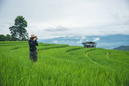 woman photographer, taking pictures of mountain landscape field farm at Pa Pong Piang, Chiang Mai, Thailand Stock fotó