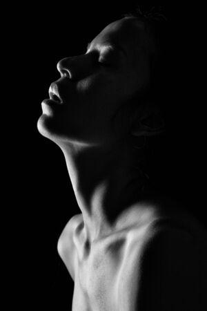 beautiful topless asia woman on black background monochrome